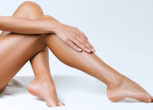 Woman's smooth legs after laser hair reduction